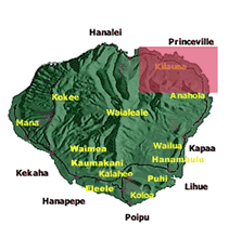 map of Kauai with North side highlighted