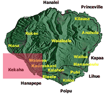 map of Kauai with West side highlighted