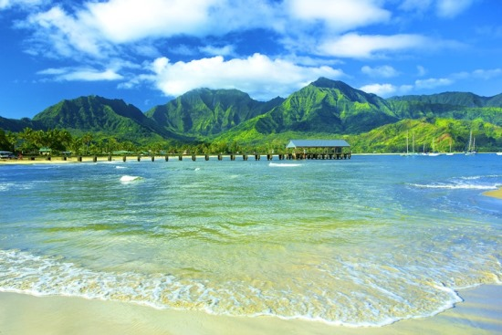 photo of Hanalei Bay and pier