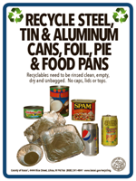 steel, tin, aluminum cans, foil, pie and food pans recycle sign