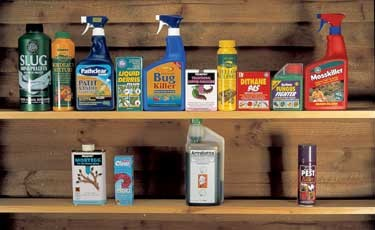 photo of pesticides on 2 shelves